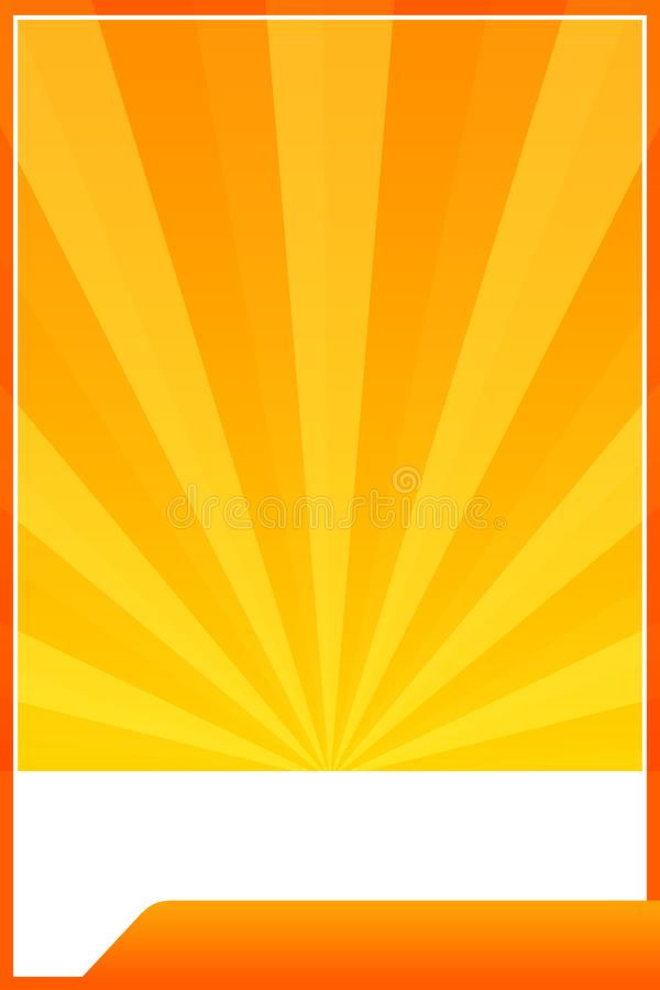 Orange banner web template frame lights sun beam shine gradient background, banner orange blank and copy space for advertising royalty free illustration
