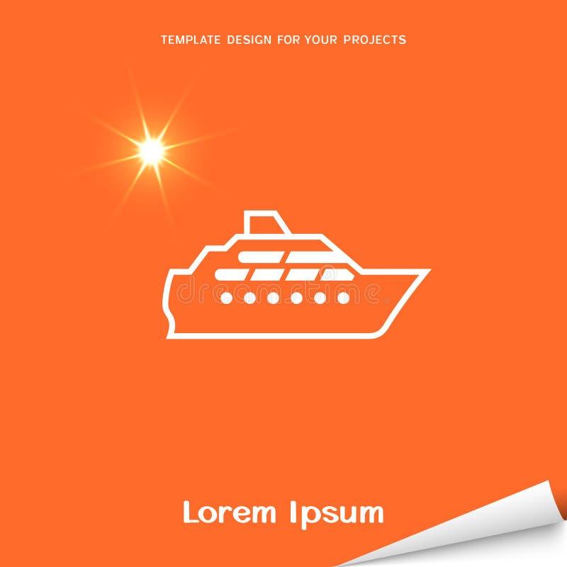 Orange banner with yacht icon stock illustration