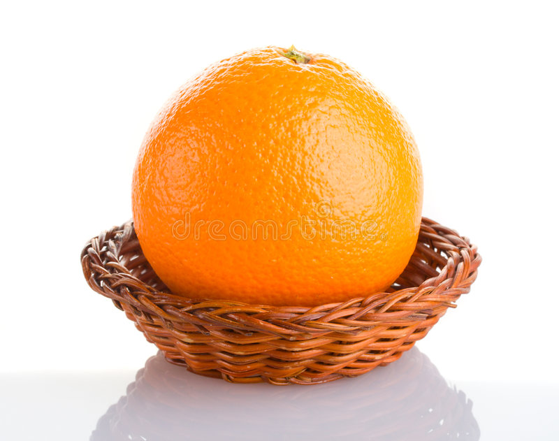 Orange in basket with reflection