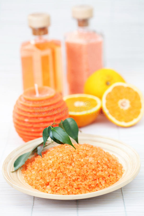 Orange bath salt royalty free stock photo