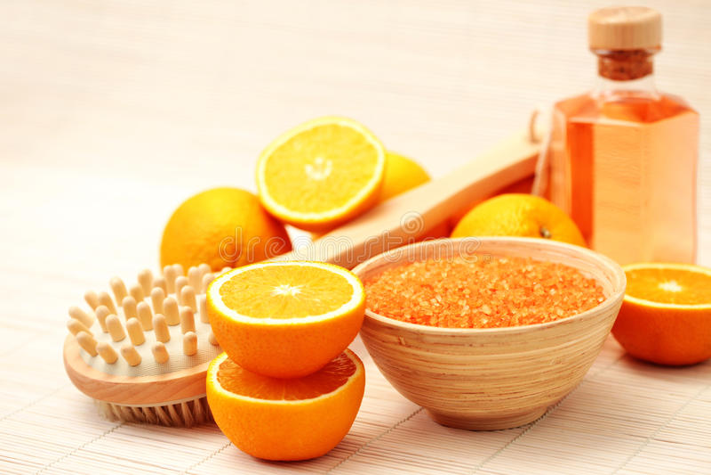 Orange bath salt royalty free stock photos