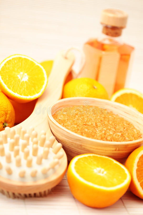 Orange bath salt royalty free stock images
