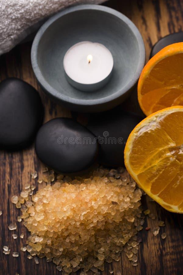 Orange bath salt royalty free stock image