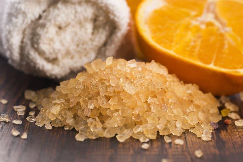 Orange bath salt and fruits royalty free stock photography