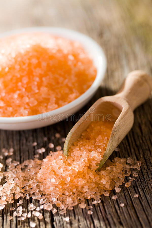Orange bath sea salt stock photography