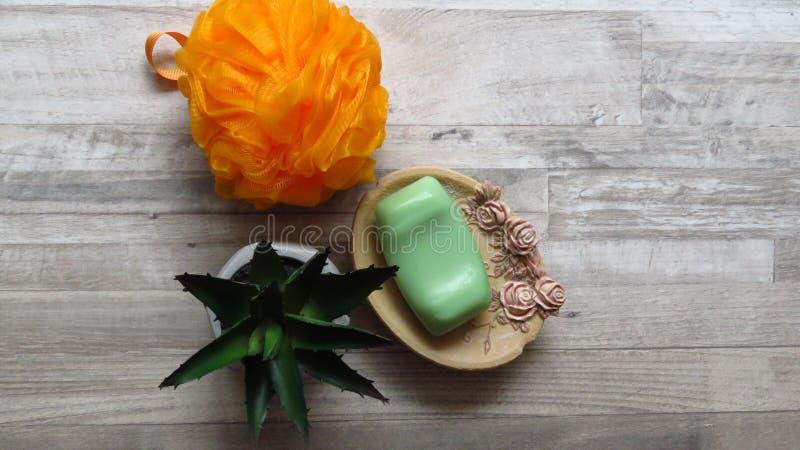 Orange Bath Sponge, Rose Decorated Soap Tray, Green Soap, Aloe Vera. Body care. stock image
