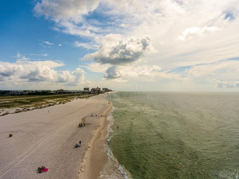 Orange Beach, Alabama on the Gulf Coast. Seascape, shores, aerial, view, sand, summer, baldwin, waves, travel, vacation, blue, sky, clouds, resort royalty free stock photography