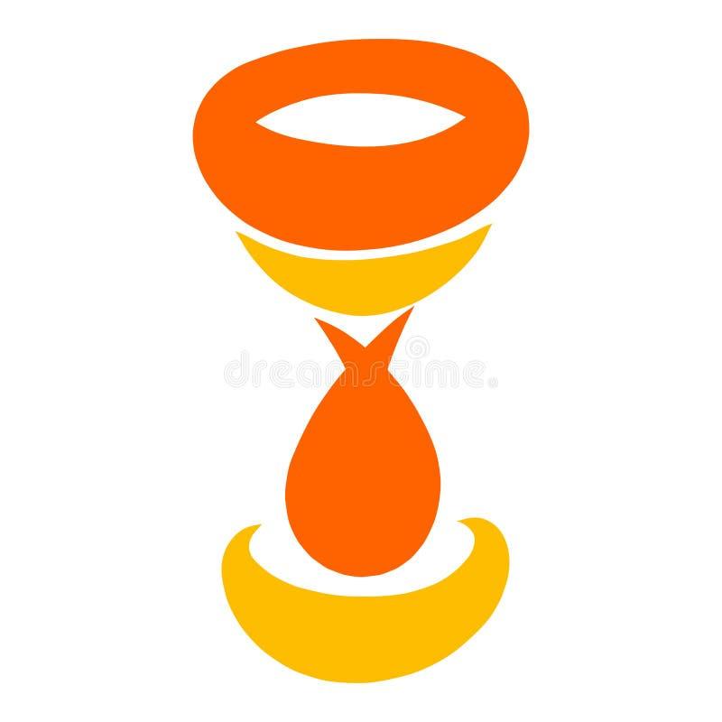 Orange Becher- oder Weinglas, abstraktes Muster stock abbildung