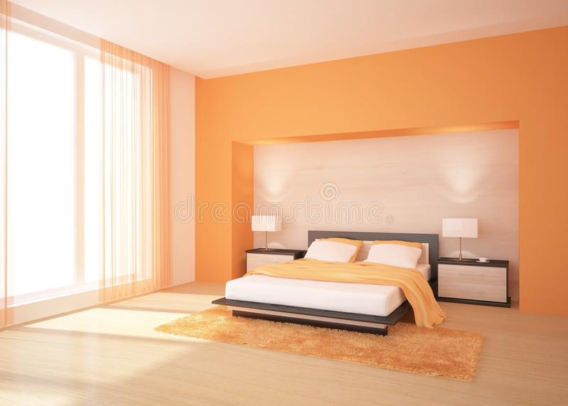 Orange bedroom stock illustration. Illustration of modern - 15577944