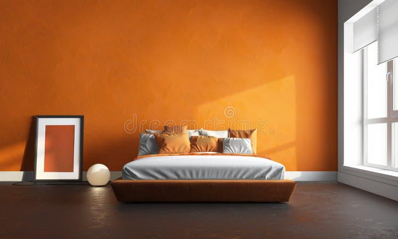 Orange bedroom. 3d render of orange bedroom