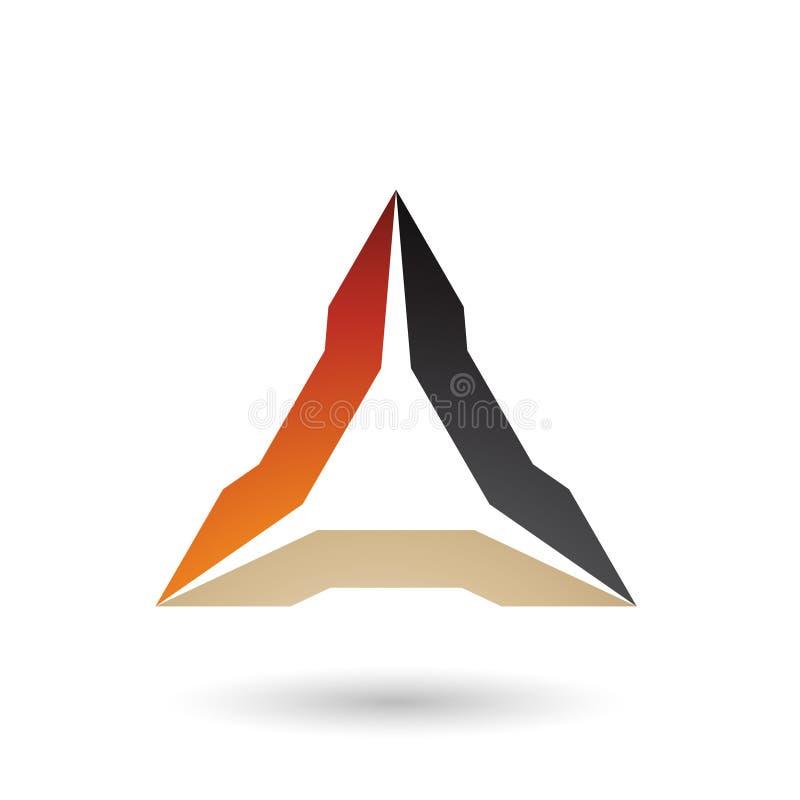 Orange Beige und schwarze ährentragende Dreieck-Vektor-Illustration vektor abbildung