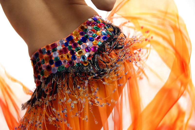 Download Orange belly dancer stock image. Image of glamour, asia - 2581867