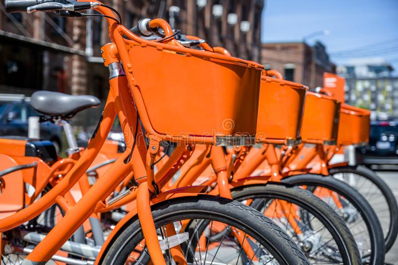 Orange bicycles with baskets for public hire are waiting for those who want to use the rental and ride royalty free stock photography