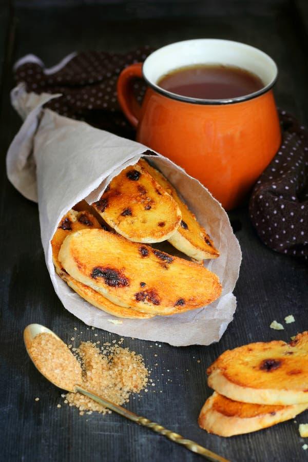 Orange biscotti mit Schokolade stockbild