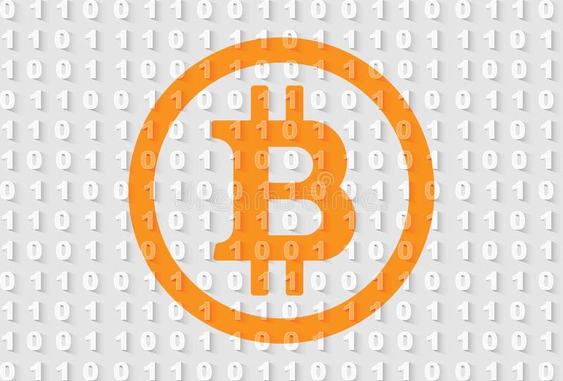 Orange bitcoin Zeichen auf grauem binär Code-Hintergrund