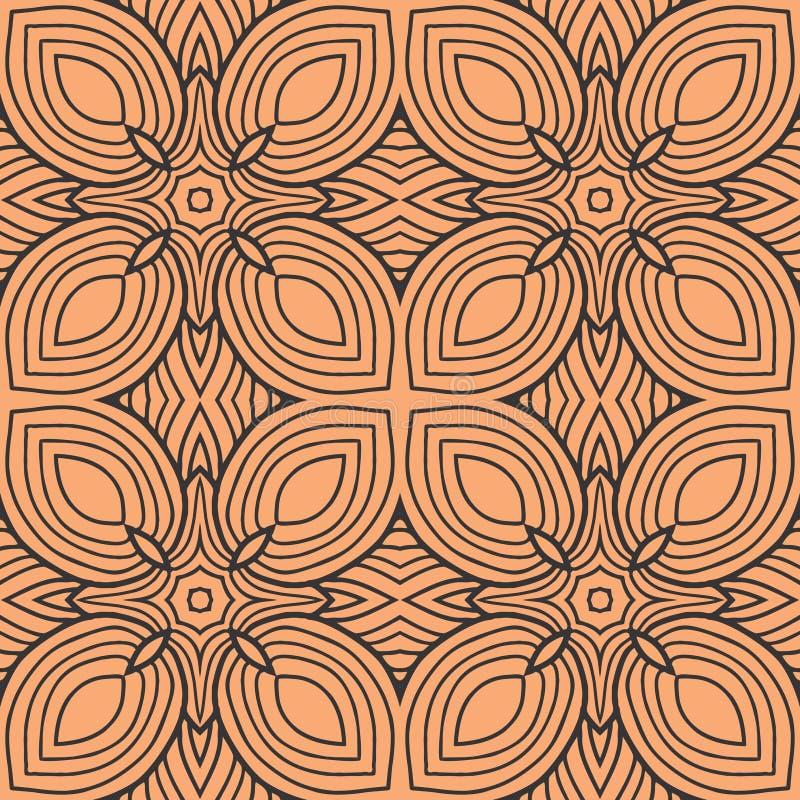 Orange Blätter Muster-Hintergrundillustration der Quadrate in der nahtlosen lizenzfreie abbildung