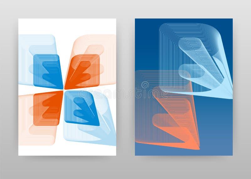 Orange blå isometrisk 3D E och b-bokstavsdesign för broschyren, reklamblad, affisch Isometriskt fodrat E, vektor för b-alfabetbak vektor illustrationer