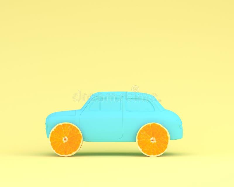 Orange blått för för fruktorienteringshjul och bil på pastell gulnar backgrou arkivbild