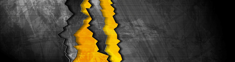 Orange black abstract grunge banner with broken edge. Vector web header background stock illustration