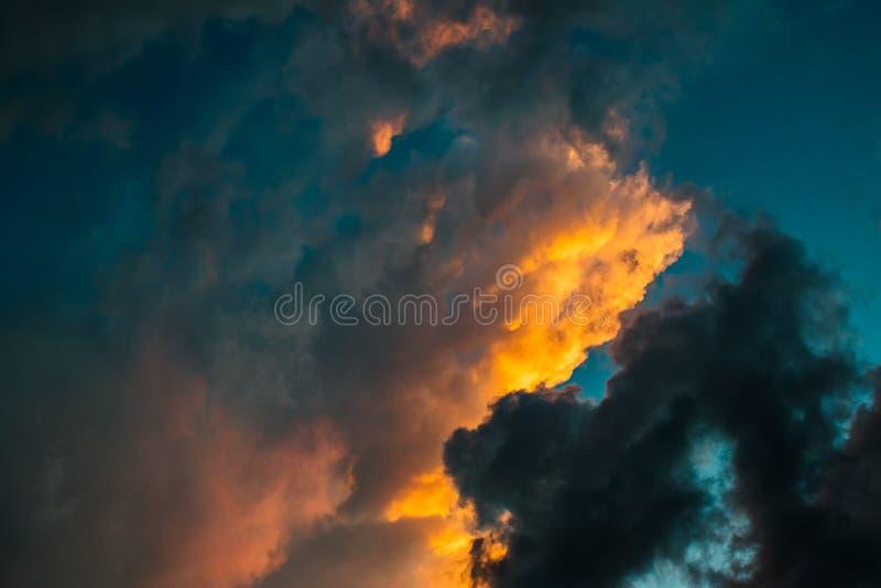 Orange, Black, and Blue Skies during Sunset royalty free stock images