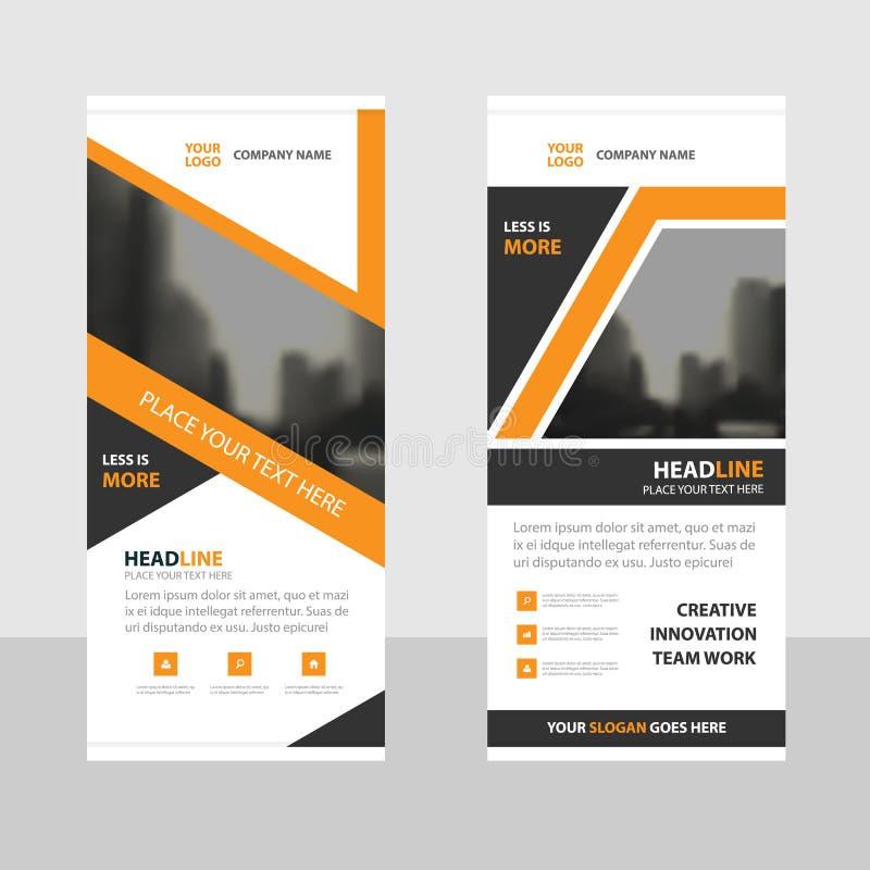 Orange black Business Roll Up Banner flat design template royalty free illustration