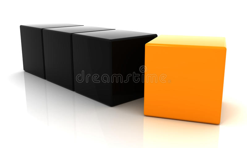 Orange and black cube 3D. Cube 3D, three black block and one orange, line vector illustration