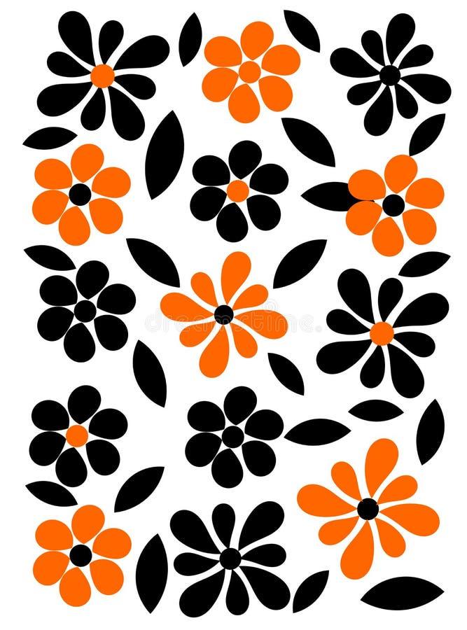 Orange and black flowers background royalty free illustration