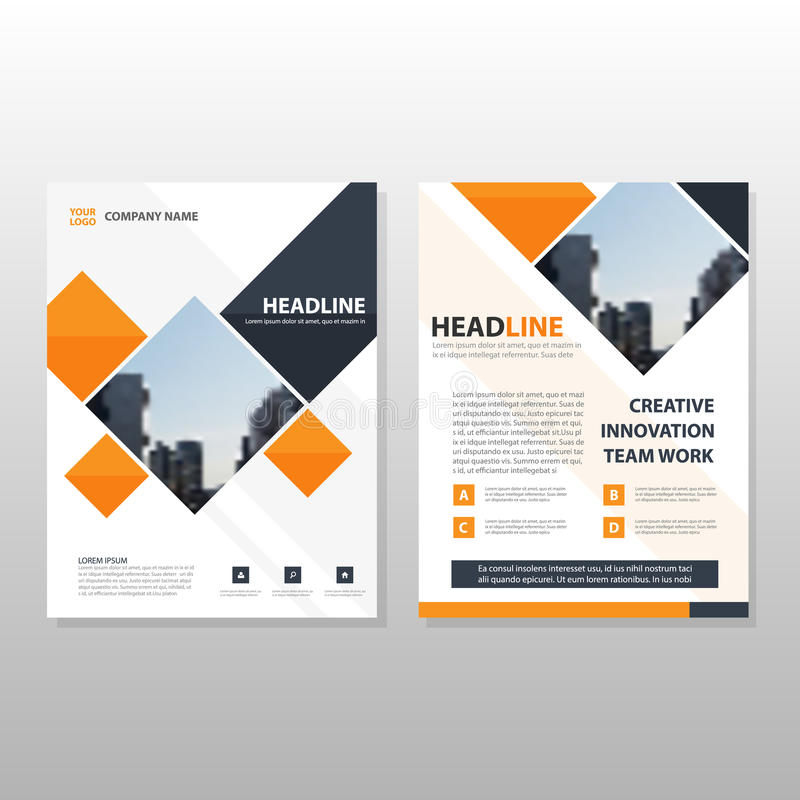 Orange black square annual report Leaflet Brochure Flyer template design, book cover layout design, abstract business. Presentation template, a4 size design royalty free illustration