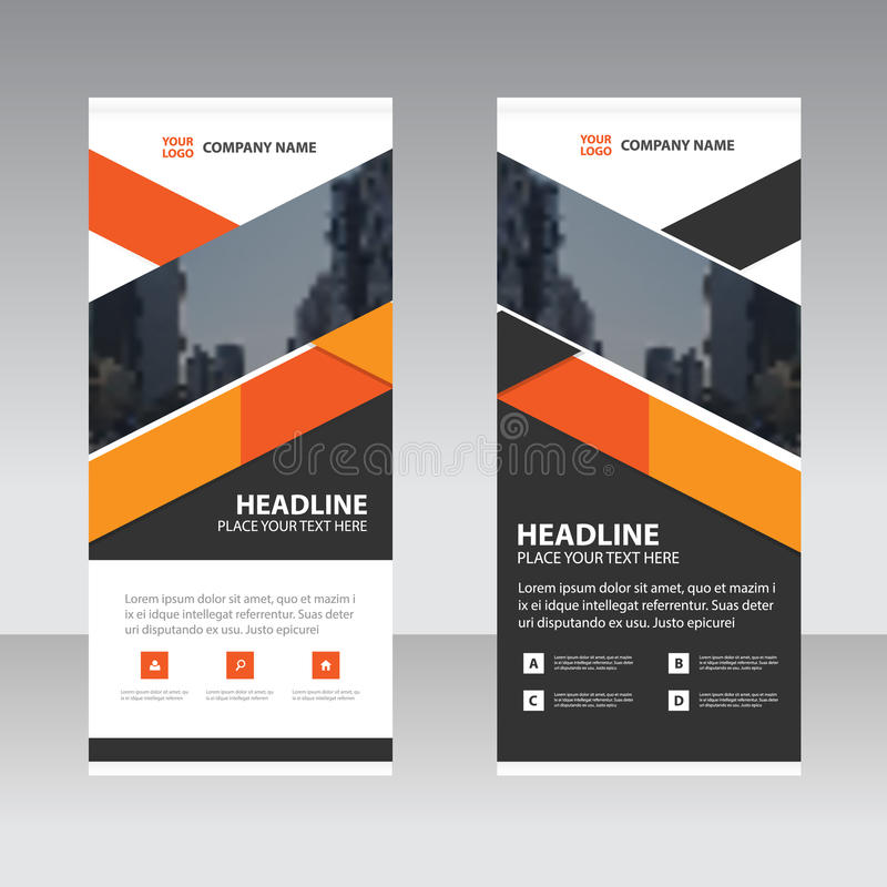Orange black triangle Business Roll Up Banner flat design template. Abstract Geometric banner template Vector illustration set, abstract presentation template royalty free illustration