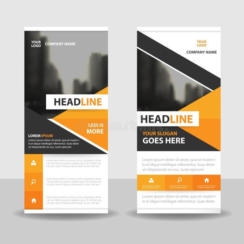 Orange black triangle roll up business brochure flyer banner design , cover presentation abstract geometric background,. Modern publication x-banner and flag vector illustration