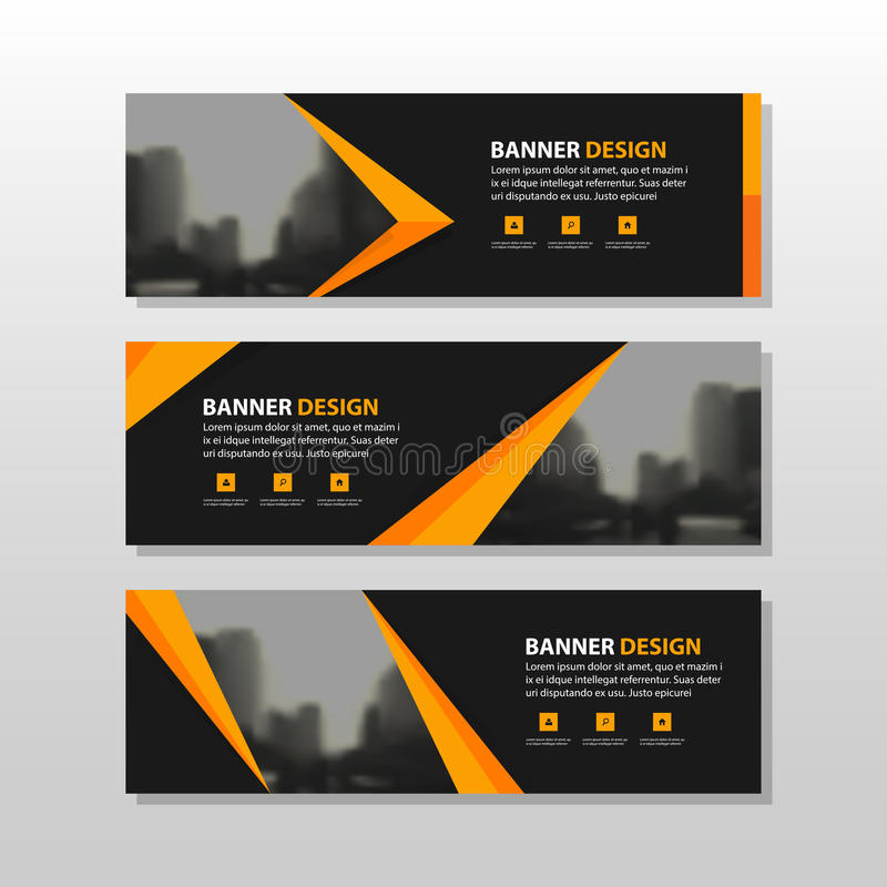 Orange black triangle square abstract corporate business banner template, horizontal advertising business banner layout template stock illustration