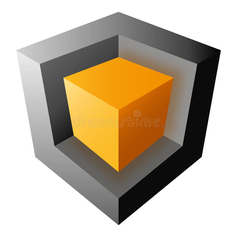 Orange and black vector cube design, isolated on o vector illustration