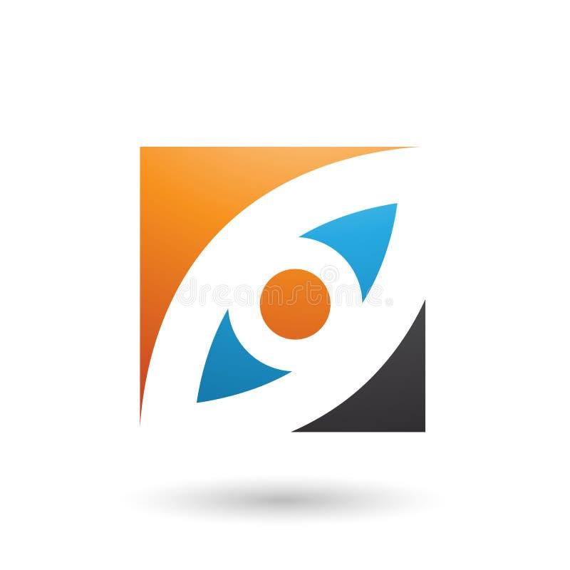 Orange Blau-und des blauen Auges geformte quadratische Vektor-Illustration vektor abbildung