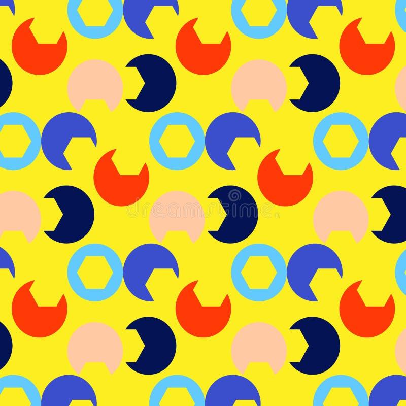 Orange blaues Rosa des hellen Musters des Sommerdruckes kreist einen gelben Hintergrund ein vektor abbildung
