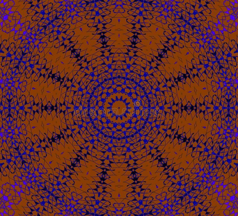 Orange bleu-foncé pourpre d'ornement sans couture de cercle concentrique illustration stock