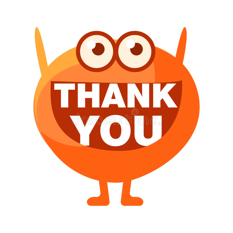 Orange Blob Saying Thank You, Cute Emoji Character With Word In The Mouth Instead Of Teeth, Emoticon Message stock illustration