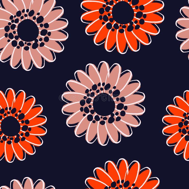 Orange blommamodell för modern sömlös höst vektor illustrationer