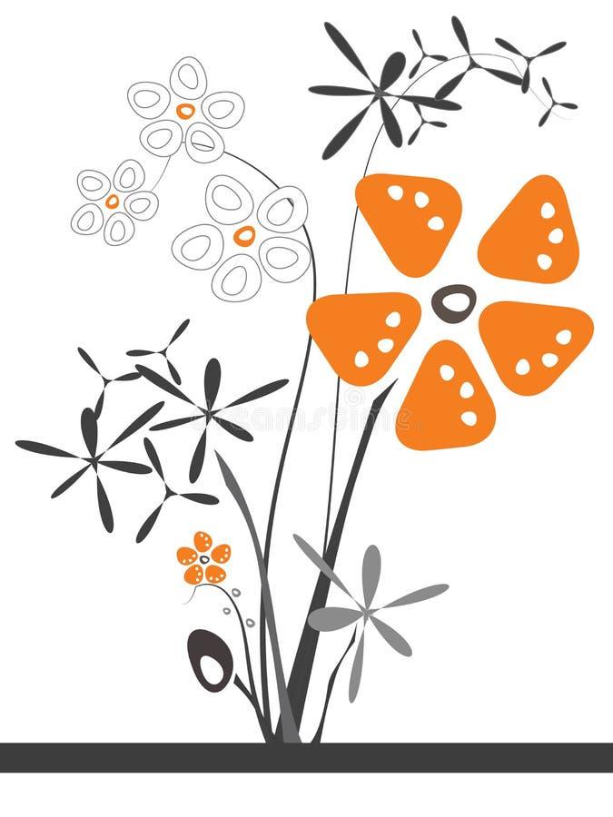Orange blommastycke vektor illustrationer