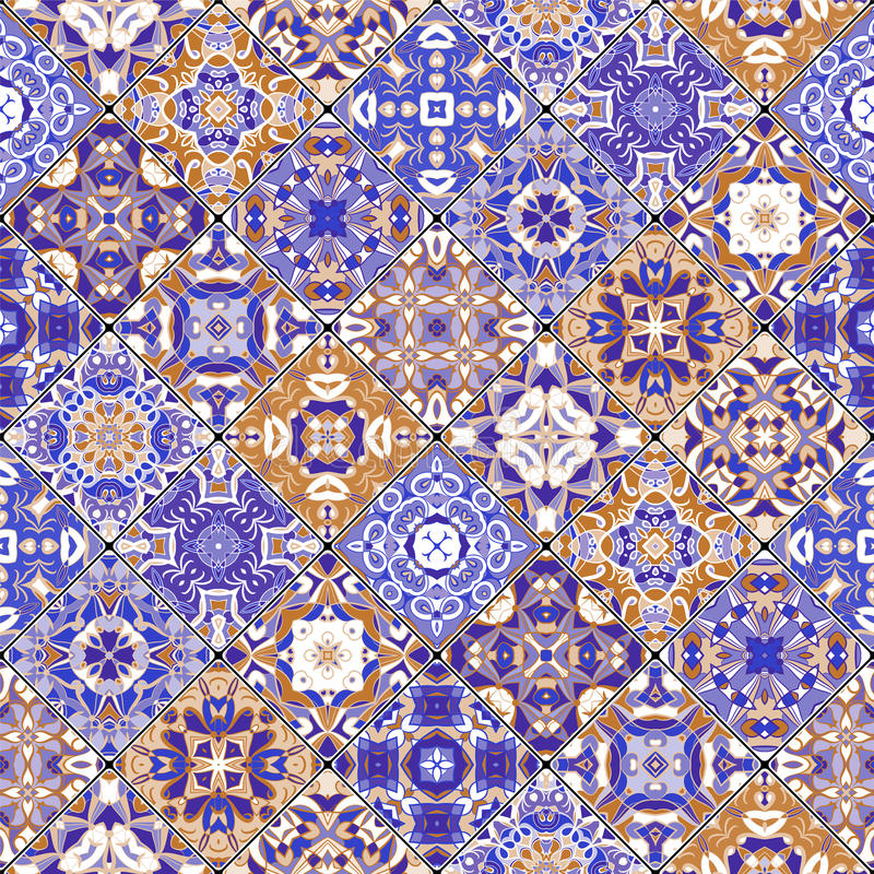 Orange and blue abstract patterns. In the mosaic set. Square scraps in oriental style. Vector illustration. Ideal for printing on fabric or paper stock illustration