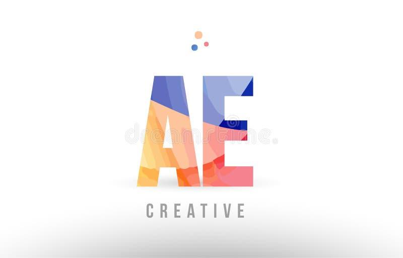 Orange blue alphabet letter ae a e logo icon design with dots. Orange blue alphabet letter ae a e logo combination design with dots suitable for a company or stock illustration