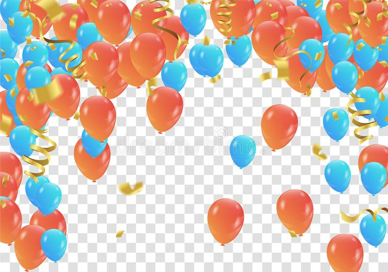 Orange and blue balloons and confetti party banner with and ser royalty free illustration