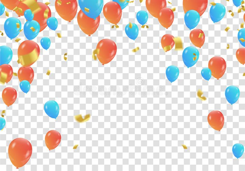 Orange and blue balloons and confetti party banner with and ser stock illustration