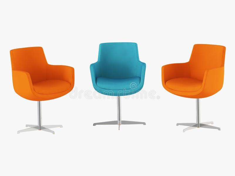 Orange and blue chairs with iron legs front view 3d rendering. Orange and blue chairs with iron legs front view 3d royalty free illustration