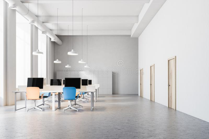 Orange and blue chairs office interior. Orange and blue chairs open office interior with a conrete floor, rows of computer desks and blue and orange office royalty free illustration