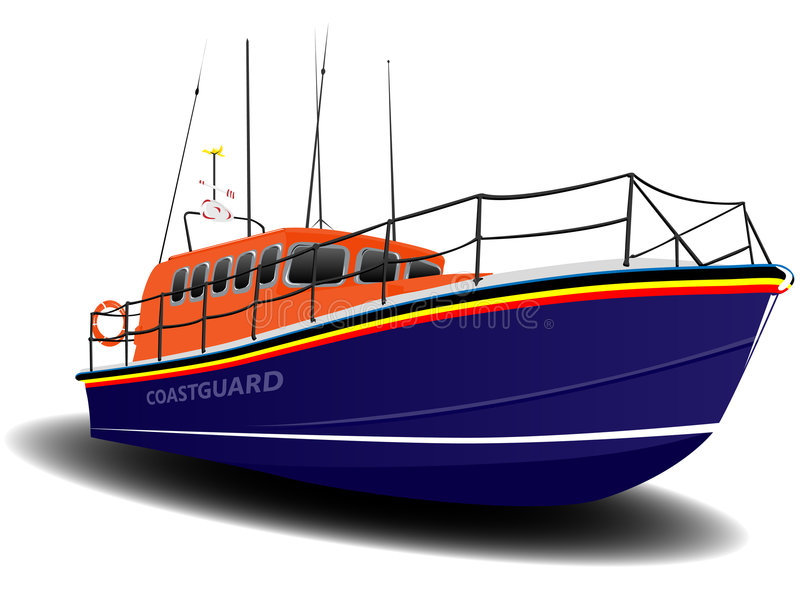 Orange and Blue Coastguard Lifeboat. Illustration over White vector illustration