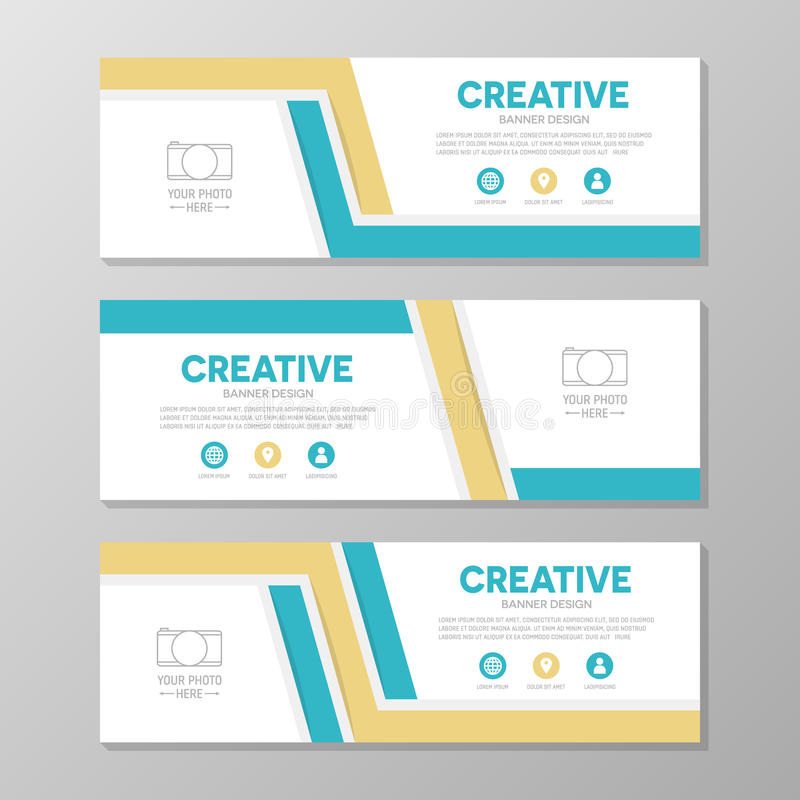 Orange and blue corporate business banner template, horizontal advertising business banner layout template design set. vector illustration