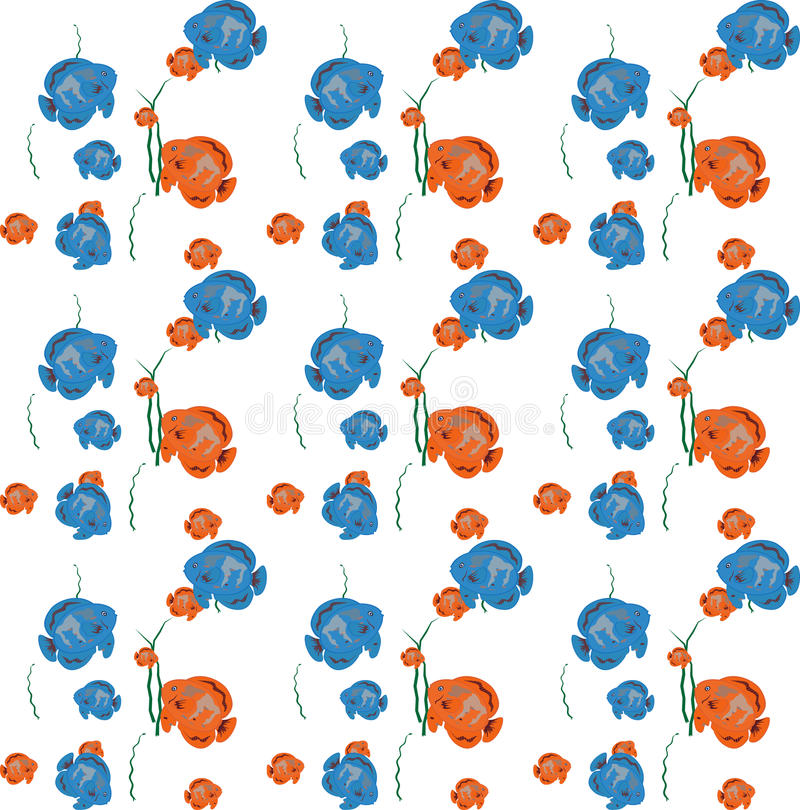 Orange and Blue Fish Seamless Pattern. Vector. Illustration vector illustration