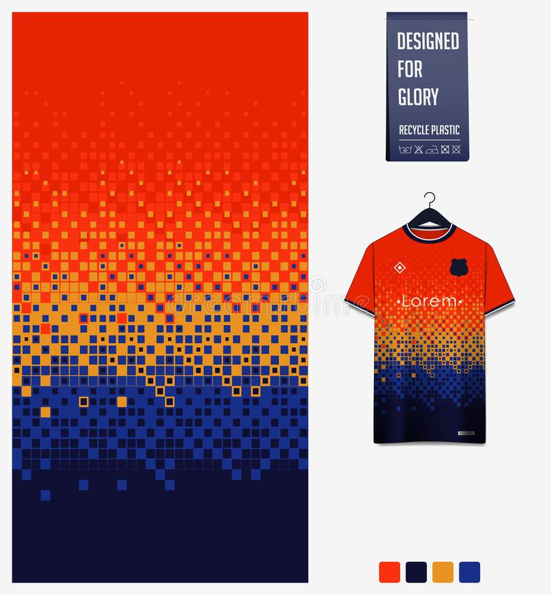 Free Orange Blue Geometry Shape Abstract Background. Fabric Pattern Design For Soccer Jersey, Football Kit, Sport Uniform. T-shirt Royalty Free Stock Image - 190843136