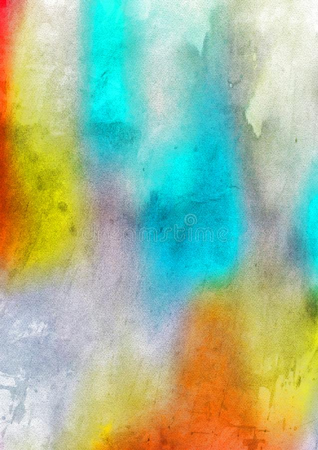 Orange Blue and Grey Watercolor Background royalty free stock photography
