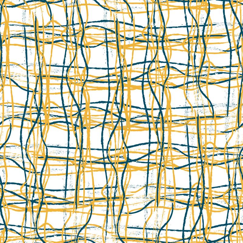 Orange and blue hand drawn strands of fibre lines in tangled grid design. Seamless geometric vector pattern on white royalty free illustration